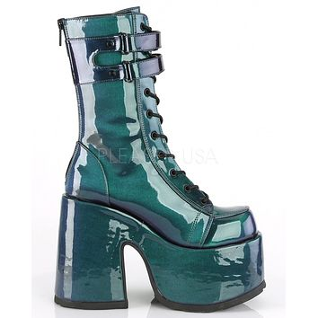 Demonia Hook 'n Loop Holographic Purple/Green Mid-Calf Platform Boots