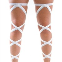 Pair of RaveReady White and Silver Glitter Leg Wraps : Rave Fluffies Wraps