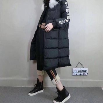 DCCKVQ8 Chrome Hearts' Women Fashion Letter Pattern Print Long Section Long Sleeve Thickened Fur Collar Hooded Cotton-padded Clothes Coat