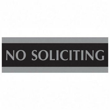 """U.S. Stamp & Sign No Soliciting Sign, 3""""x9"""", Silver on Black"""