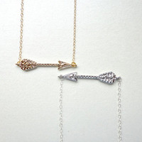 Sideways arrow necklace, Horizontal arrow necklace