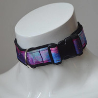 Kitten play buckle collar - Purple nebula - bdsm proof daddy kink pet play super sturdy lined collar for kittenplay by nekollars