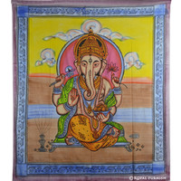 Multicolor Canvas Hindu Ganesha Tie-Dye Cotton Tapestry Wall Hanging Art