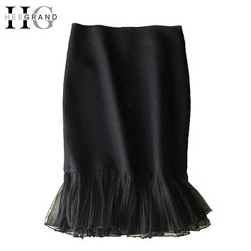 HEE GRAND 2017 Sexy Pencil Women Skirts Stretchable Knee-Length Patchwork Black Elegant Office Lady Lace Ruffles Formal WQB922
