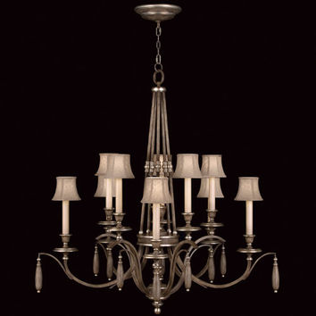Fine Art Lamps 806940ST Villa Vista 10-Light Chandelier in Hand Painted Driftwood Finish On Metal with Silver Leafed Accents