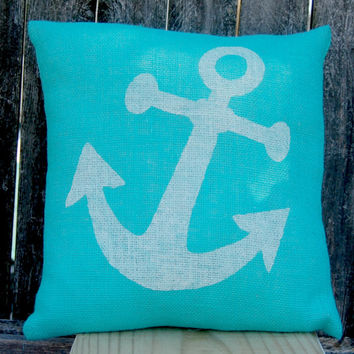 Anchor Pillow,Nautical Pillow,Beach House Pillow,Summer Pillow,Burlap Pillow,Decorative Pillow,Beach House Decor,Throw Pillow,Beachy Cushion
