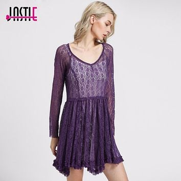 Jastie Boho Style Hippie Women Look Both Ways Lace Slip Dress Long Sleeve Crochet Summer Dresses Dresses (No Lining)8112