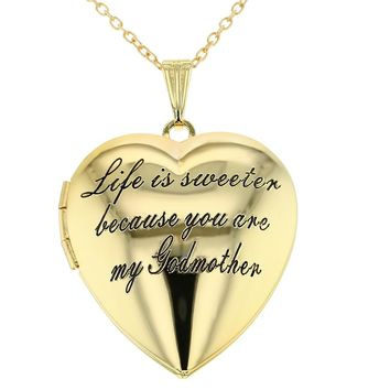 Heart Locket Love Godmother Necklace Goddaughter Pendant 19""