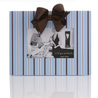 Elegant Baby Striped Frame - Blue, Chocolate, White
