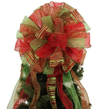 Red Lime Green Glitter Christmas Tree Topper Bow
