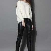 Faux Leather Leggings with Zip Decor
