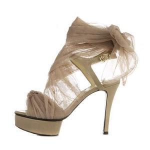 Sexy Chiffon Lace up Nude Beige Pumps Heels US 5 - 9 by dithzzappear on Sense of Fashion