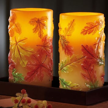 Autumn Leaf Vanilla Scented Flameless Candles