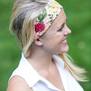 Handmade Cotton Fashion Headband. Romantic Tea Rose Floral