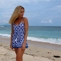 Pom Pom Jumpsuit / Playsuit, Short Beach Dress, Cobalt Blue Coffee Bean Print Skort Shorts