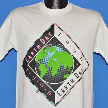 90s Earth Day 1990 Neon Planet Earth Deadstock t-shirt Medium