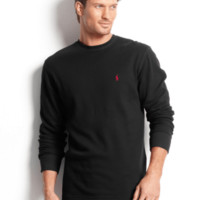 Polo Ralph Lauren Brown Big And Tall Long Sleeve Crew Neck Waffle Thermal Top