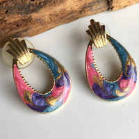 Vintage Enamel Earrings, Vintage Hoop Earrings, Post Earrings, Pink Enamel, Blue Enamel, Purple Enamel, Gold Enamel, Gold Plated Hoops