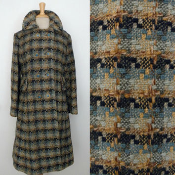 Vintage 50s 60s Coat / Battlesteins Sky Blue Autumn Brown Tweed Boucle Mid Century City Chic Stroller