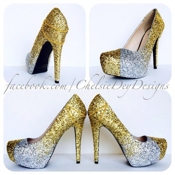 Silver and Gold Ombre Glitter High Heels
