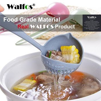 WALFOS FOOD GRADE 2 in 1 Long Handle Soup Spoon Porridge Spoons ladle Colander with Filter Flatware cooking Kitchen Accessories