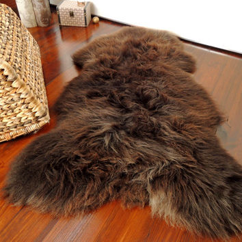 Wonderful Genuine XL - Natural Choco Brown Mix  Sheepskin Rug Incredibly Soft  Wool - SN 5