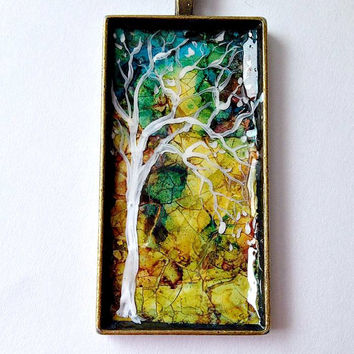 "Abstract TREE Pendant Necklace Rectangle  Eggshell Mosaic  1"" x 2"" Bronze Long 20"" chain"