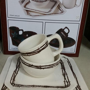 CREAM TOOLED BARBED WIRE 16PC DINNER SET