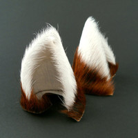 Brown White Tipped Fur Leather Cat Ears Limited Edition Nekomimi Cosplay Furry Goth Fantasy Fashion Wear