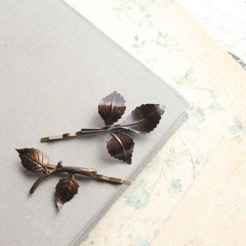 Branch Hair Accessories, Leaf, Dark Brown, Woodland Wedding, Bobby Pins, Pair of Leaves, Blackened Brass