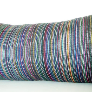 Long Bolster Pillow Black Striped Lumbar Pillow by CityGirlsDecor