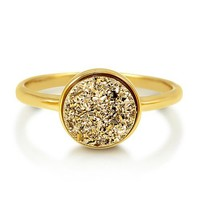 Round Gold Color Natural Druzy Quartz Gold Plated Brass Fashion Ring #r701-G