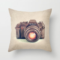 Vintage Nikon Camera Watercolor Throw Pillow by ShayitwithLove