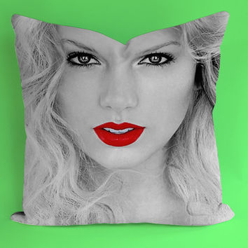 Taylor Swift Red Lips for Square Pillow Case 16x16 Two Sides, 18x18 Two Sides, 20x20 Two Sides
