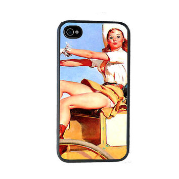 Pinup Cowgirl iPhone 4 Case, fits iPhone 4 and 4s Retro - iPhone 5 Case - Gifts Under 25