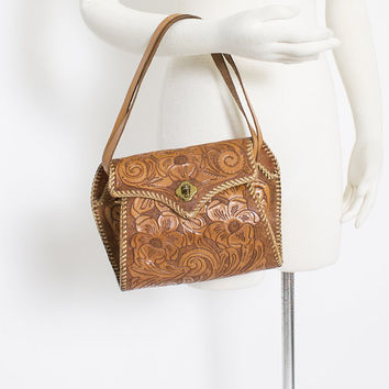 Vintage Tooled Leather Purse 1950s Brown Western Hand Bag