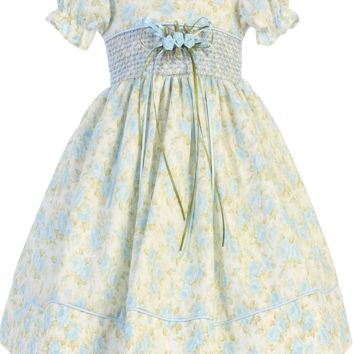 Light Blue Floral Print Cotton Spring Occasion Dress with a Smocked Waist (Baby Girls Sizes)