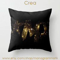 "Monogram Personalized Custom Pillow Cover ""Crea"" 16"" x 16"" Couch Art Bedroom Decor Initials Name Letters Black Gold Space Star Galaxy Cosmos"