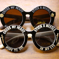 Stick A Needle In My Eye Embellished Weed leaf Ying Yang Dagger Sunglasses