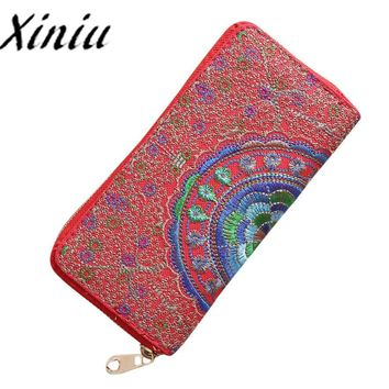 Xiniu Embroidery womens wallets and purses for mobile phone wallets Oxford clutch Wallet Card Holder Handbag bag female cloth#S