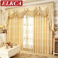 European Golden Royal Luxury Curtains for Bedroom
