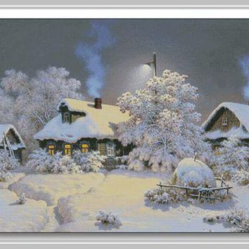 Winter village Embroidery Snowy day Scenery Needlework Crafts 14CT Unprinted Cross Stitch Kit Art DMC DIY Quality Handmade Decor