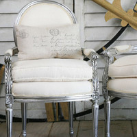One of a Kind Louis XVI Upholstered Vintage Armchair Silver with Carving Set of 2
