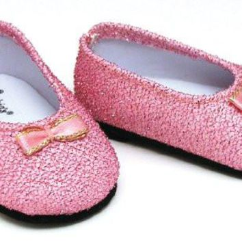 Light Pink Glitter Shoes, Fits 18 Inch American Girl Dolls, Doll Accessories