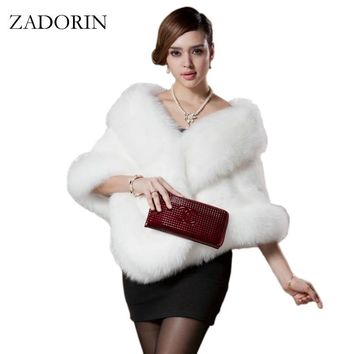 2017 Winter Fashion Women Faux Fox Fur Coat Female Cloak Poncho Cape Bridal Wedding Dress Shawl Cape Women Overcoat