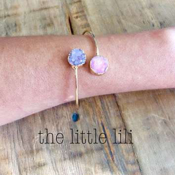 Gold Druzy Bangle Bracelet , Drusy Bracelet, Rose and Blue Druzy Bangle.Irregular shape double Druzy Bangle Bracelets