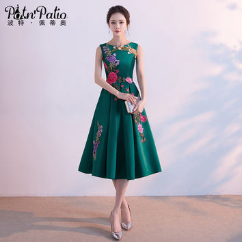 PotN'Patio O-Neck Sleeveless Green Formal Dress Elegant Tea Length Long Evening Gown 2017