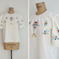 1960s Blouse - Vintage 60s White Embroidered Blouse - Ballueca Blouse