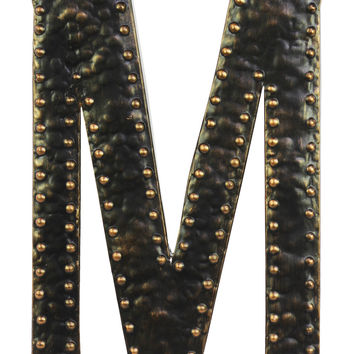 Metal Wall Decor Letter M with Rivets - Dark Bronze