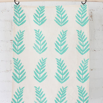THE FERN - hand printed tea towel paradise green tropical kitchen towel small gift